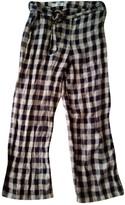 MANGO Blue Linen Trousers for Women