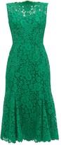 Dolce & Gabbana Flared Guipure-lace Dress - Womens - Green