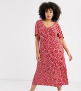 Asos DESIGN Curve square neck twist front midi dress in print