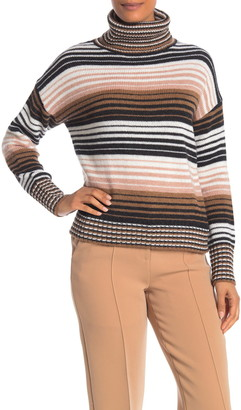 360 Cashmere Nadia Striped Wool & Cashmere Turtleneck Sweater