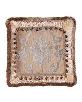 "Isabella Collection by Kathy Fielder Grace Ruched Velvet Pillow with Damask Center, 20""Sq."