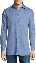 Luciano Barbera Linen Sport Shirt, Light Blue
