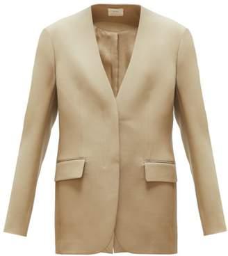 The Row Murray Collarless Wool-twill Blazer - Womens - Beige