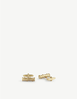 Lanvin Can cylindrical gold-plated cufflinks