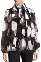 Dolce & Gabbana Tulip-Print Silk Chiffon Tie-Neck Blouse