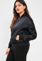 Missguided Plus Size Navy Ruched Sleeve Satin Bomber Jacket