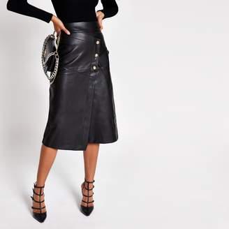 River Island Womens Black faux leather button A line midi skirt