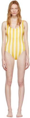 Off-White Solid and Striped Yellow and The Anne-Marie One-Piece Swimsuit