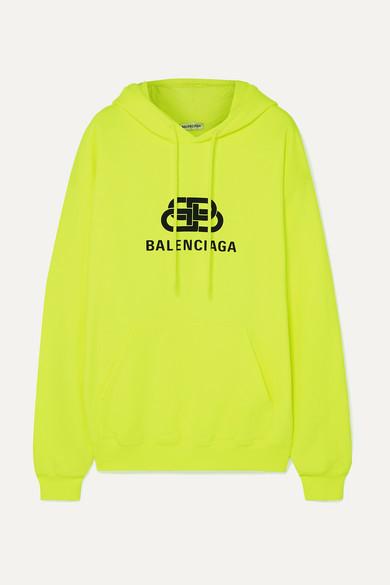 Balenciaga Printed Cotton-jersey Hoodie - Yellow