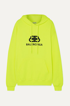 Balenciaga Printed Cotton-jersey Hoodie - Yellow