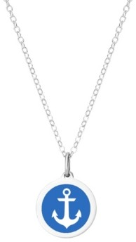 """Auburn Jewelry Mini Anchor Pendant Necklace in Sterling Silver and Enamel, 16"""" + 2"""" Extender"""