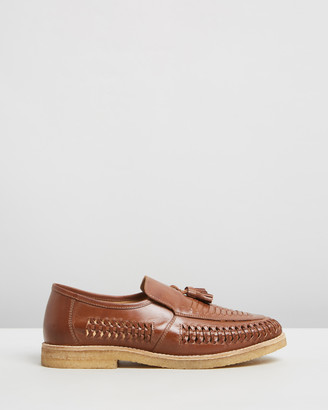 Double Oak Mills Endo Woven Leather Loafers