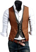ACEFAST INC Men's Casual Fashion V-neck Double Layered Fit Vest Waistcoat Slim Jacket Tops