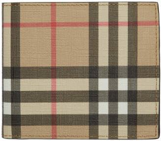 Burberry Beige Vintage Check International Bifold Wallet