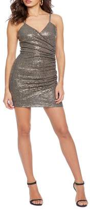 Dress the Population Cosmo X Xoxo V Neck Ruched Mini Dress