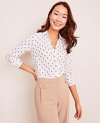 Ann Taylor Petite Butterfly Stripe Essential Shirt