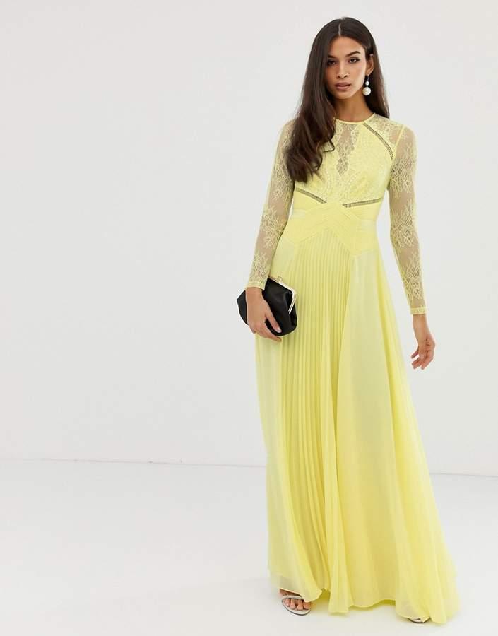 Asos Design DESIGN long sleeve lace paneled pleat maxi dress