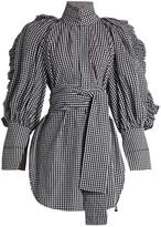 Ellery Angelface high-neck ruffle-trimmed gingham top
