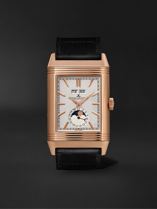 Jaeger-LeCoultre + Casa Fagliano Reverso Tribute Calendar Limited Edition Hand-Wound 29.9mm 18-Karat Rose Gold And Leather Watch, Ref. No.