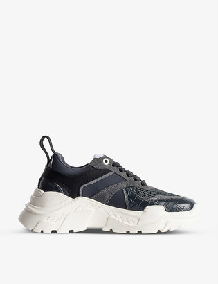 Zadig & Voltaire Future croc-embossed faux-leather and mesh chunky trainers