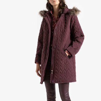 Anne Weyburn Mid-Length Padded Down Jacket with Faux Fur Hood