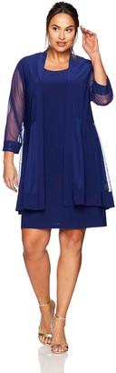 R & M Richards R&M Richards Women's Size Glitter Trim Jacket Dress Plus