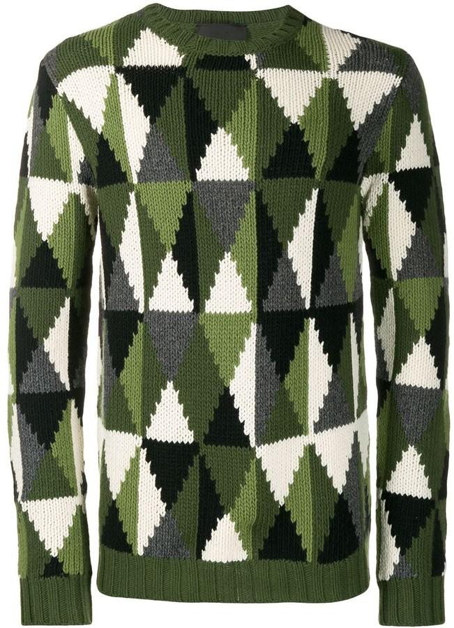 Prada intarsia knit triangle motif jumper