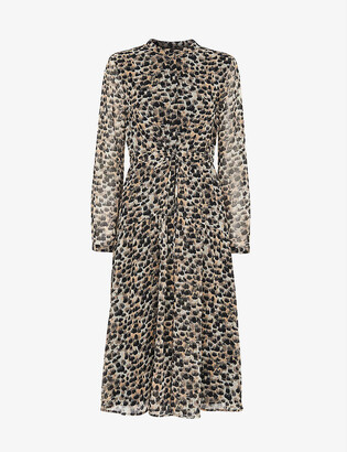 Whistles Animal-print crepe midi dress