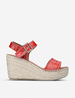 Carvela Kape croc-embossed leather espadrille wedge sandals