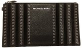 Michael Kors Women's Stud Mini Grommets Leather Zip Clutch Wristlet Bag