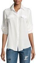 Yumi Kim Silk Long-Sleeve Button-Front Blouse, White