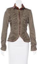 Roberto Cavalli Leather-Trimmed Wool Jacket