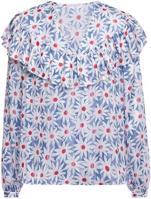 Claudie Pierlot Ruffled Floral-print Devore-woven Blouse