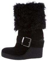 Moncler Suede & Shearling Round-Toe Boots
