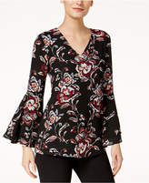 Alfani Petite Printed Bell-Sleeve Top, Created for Macy's