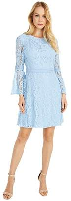 Adrianna Papell Bell Sleeve Lace A-Line Dress (Powder Blue) Women's Dress