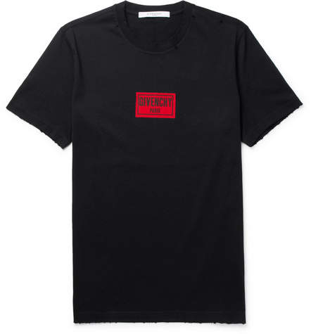 Givenchy Cuban-Fit Appliquéd Distressed Cotton-Jersey T-Shirt
