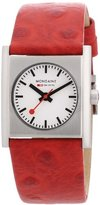 Mondaine Ladies Evo Cube, Stainless Steel case, red leather strap