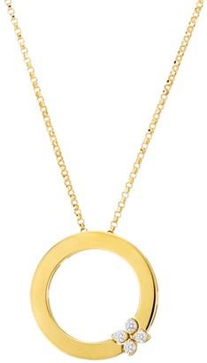 Roberto Coin Love In Verona 18K Yellow Gold & Diamond Flower Circle Of Life Pendant Necklace