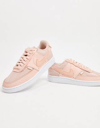 Nike Court Vision Low Premium trainers in washed coral & white