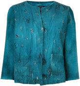 Avant Toi distressed overdyed cropped jacket - women - Cotton/Linen/Flax/Polyamide/Cashmere - M