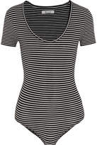 Madewell Striped Stretch Cotton-blend Jersey Bodysuit - Black