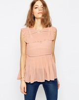 Asos Sleeveless Tiered Ruffle Blouse with Lace Inserts