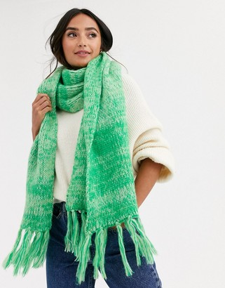 Asos Design DESIGN mixed knit fluffy scarf with tassels-Green