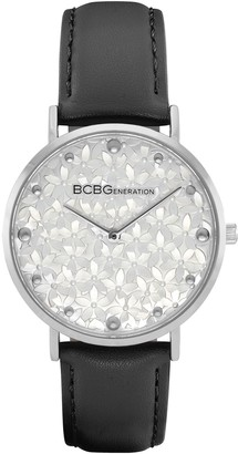 Bcbgeneration BCBGeneration Women's Stainless Floral Dial Black Strap Watch