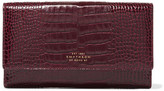 Smythson Mara Croc-effect Glossed-leather Wallet