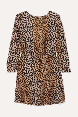 Rixo Kyla Leopard-print Silk Crepe De Chine Mini Dress - Leopard print