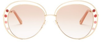 Chloé Delilah Round Double-frame Metal Sunglasses - Womens - Light Gold