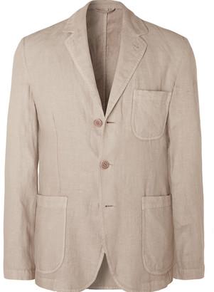 Aspesi Beige Unstructured Garment-Dyed Linen Blazer
