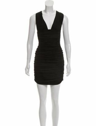 Balmain Ruched Mini Dress Black